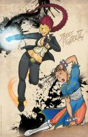 Crimson Viper and Chun-Li by geeksnextdoor