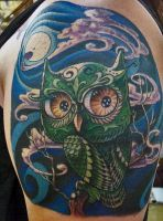 owl tattoo by optimuspint