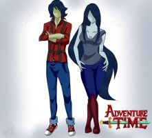 Marshall Lee and Marceline 'ADVENTURE TIME' by DollMarionette