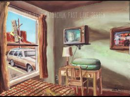 Late 70s Motel Room (Road Trip Painting) by FastLaneIllustration