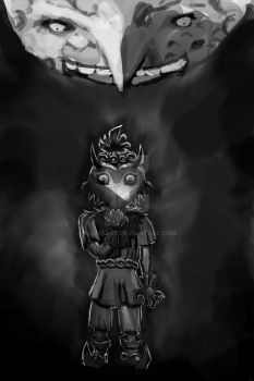 Majora's Mask Black and White by AlizesArt