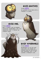 #055 Hooters - #056 Owl - #057 Eyebrowls by Ry-Spirit
