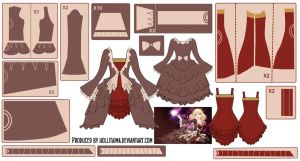 Kagamine Rin Dress w/ Dress Coat Pattern Draft by Hollitaima