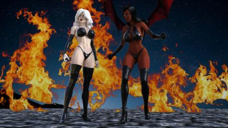 Lady Death and Purgatori by eliasw84