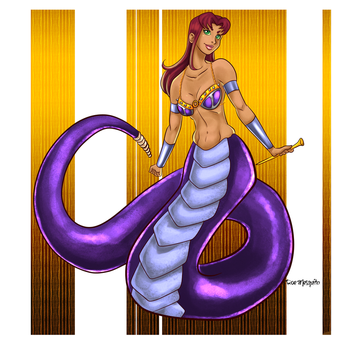 Starfire as a Naga by AndronicusVII