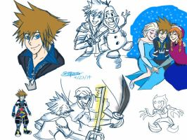 Kingdom Hearts and Frozen by createandshow0407