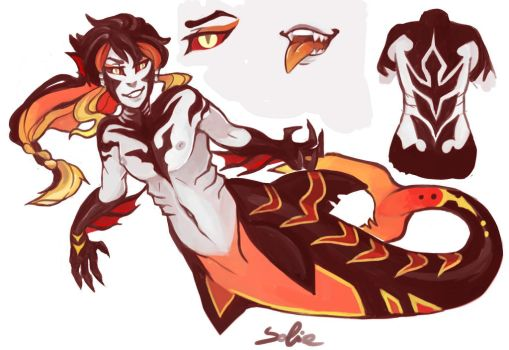 Gift - Glow Fire Vampire Merman by sofia-1989