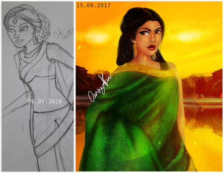 Redrawing my old work!! (Geeta) by CansuAkn