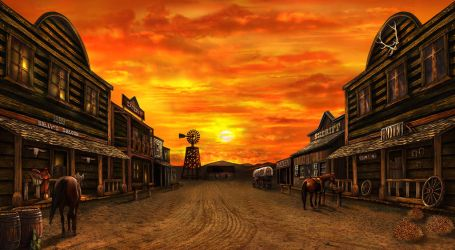 western town at dusk by crayonmaniac