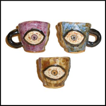 Eye Cup With Embedded Eyes by aberrantceramics