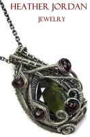 Moldavite and Garnet Pendant in Sterling Silver by HeatherJordanJewelry