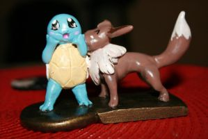 Eevee x Squirtle by souffle-etc