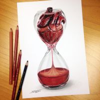 Heart Hourglass Pencil Drawing by AtomiccircuS