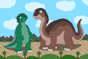 Godzilla and Brontosaur by MCsaurus