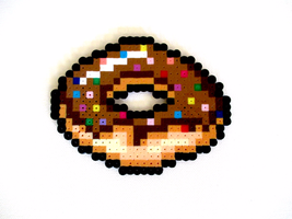 Perler Bead Chocolate Glazed Dount with Sprinkles by BrodoBagginz