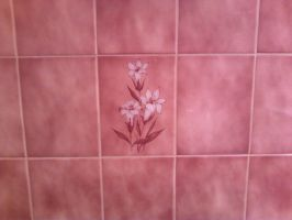 Pink tile with flowers by Silvermoonlight217