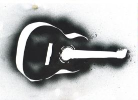 Black Stencil - Guitar in Gold by Half--the--Fun