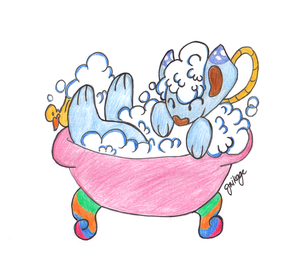 Bubs the Sudsy Sheep in a bathtub by Miikage