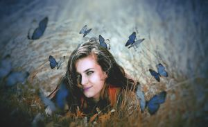 Girl And Butterflies by brefulton