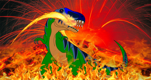 Tyrannosaurus-rex Leader of the Fire by Artapon