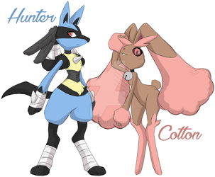 Hunter and Cotton :Pokemon FanArt: by CottonCandyTail