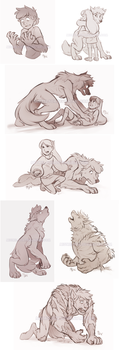 CM - GF sketches (werewolves) by Mistrel-Fox