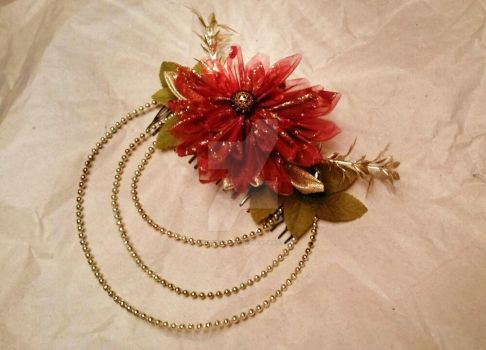 Flame Flower Kanzashi - Hair comb Accessory by ArianeTatsu