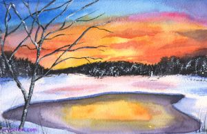 Wintery Sunset (Watercolor) by Yrya-chan