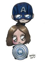 Bucky and Captain America Chibi by sakkysa
