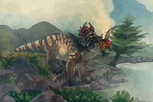 Centrosaurus by a River by Mantiscat