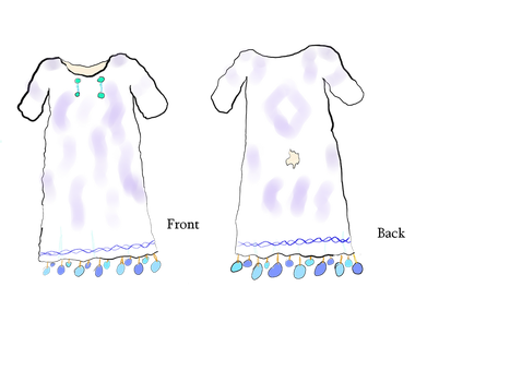 Pavonian swimdress (Saia'eo), front and back. by Raakone