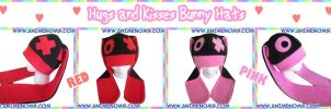 Hugs and Kisses Bunny Hats Red and Pink by AnimeNomNoms
