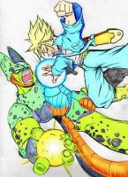 Trunks vs Cell Colored by ssjgogeto