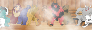 Commission - Beasts in Sauna by RetroUniverseArt
