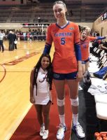 Tall volleyball player short cheerleader by lowerrider