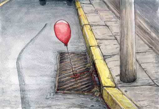 IT Red Balloon Ad Watercolor by AlexanderCrW