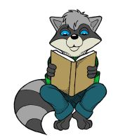 Reading raccoon by Skychaser
