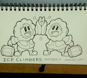INKTOBER 17 ICE CLIMBERS by FlintofMother3