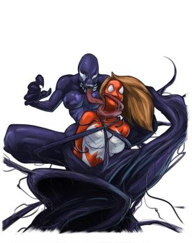 Ultimate Spider Woman vs Lady Venom by HeySerdna