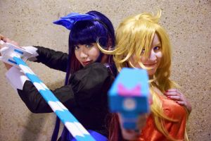 Panty and Stocking with Backlace and Stripes by firecloak