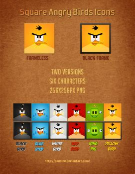 Square Angry Birds Icons by BenSow