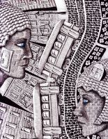 City Love ink pen and colored pencils surr drawing by Vitogoni