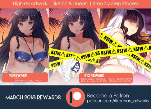Patreon: Upcoming March 2018 Rewards by Riikochan-Artworks