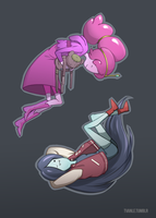 Bubblegum and Marceline by Voena