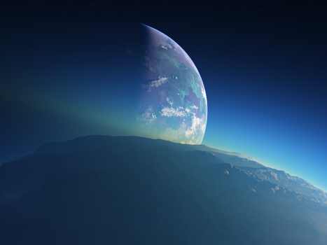 Planet with moon by Yaskolkov