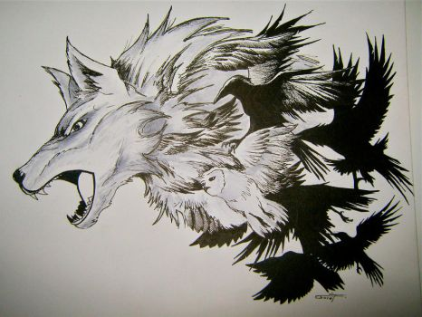 wolf-birds fusion tattoo final by THETROLLESQUE