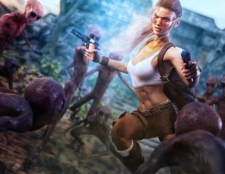 Lara Croft vs. Grey Aliens, Tomb Raider Fan-Art by shibashake