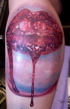 Bloody Lips Tattoo by catbones