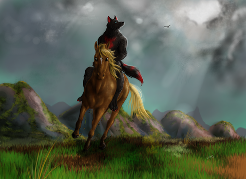 Commission - Riding a feral horse by FuriarossaAndMimma