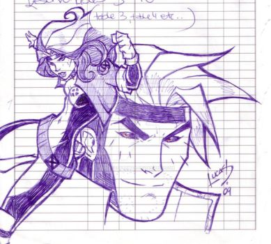 Rogue and Gambit DOODLE 09 by LucasAckerman